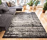 "Longlac Grey Vintage Stripe Modern Casual 2x4 ( 2'3"" X 3'11"" ) Area Rug Thick Soft Plush Shed Free"