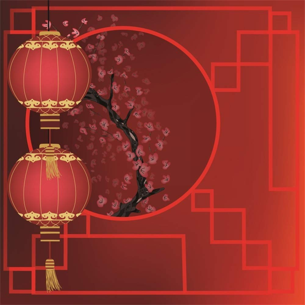 AOFOTO 10X10ft Chinese Style New Year Backdrop Red Lantern Ancient Pane Plum Blossom Wintersweet Photography Background Best Wishes Greet Spring Family Reunion Festival Celebration Background by AOFOTO
