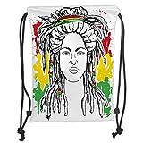 Custom Printed Drawstring Sack Backpacks Bags,Rasta,Grunge Ethiopian Flag Colors with a Black and White Sketchy Girl Image Decorative,Red Marigold and GreenSoft Satin,5 Liter Capacity,Adjustable Stri