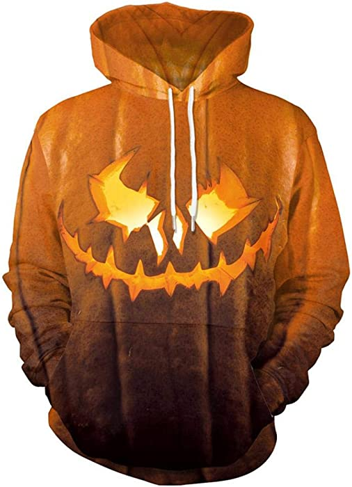 cd79aeec30b Novelty Village Halloween Scary Hoodies 3D Print Long Sleeve Pullover Top  Blouse Sweatshirt-Pumpkin Print