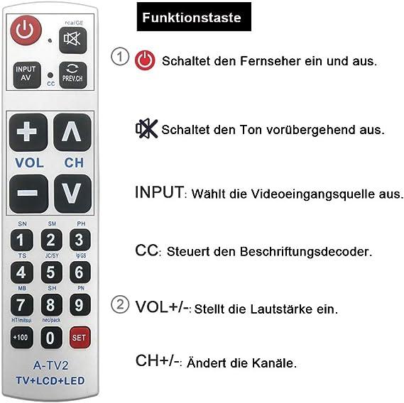 Alkia - Mando a Distancia Universal con botón Grande A-TV2, Ajuste ...