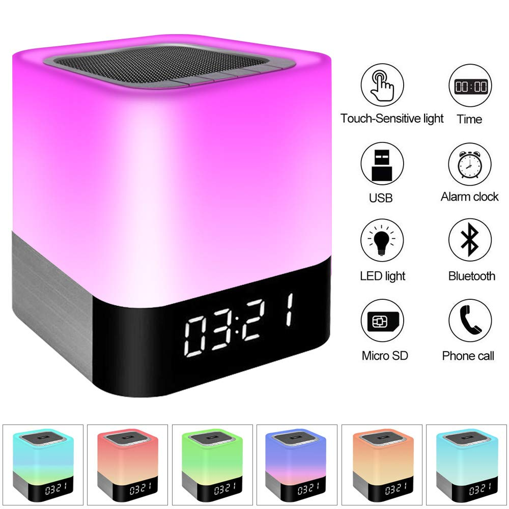 Night Light Bluetooth Speaker, Touch Sensor Bedside Lamps, Wake up Light, Color Changing Dimmable Table Lamp, Digital Alarm Clock Night Light, for Kids and Adult Wireless Speaker with Lights LAZYSUNNY