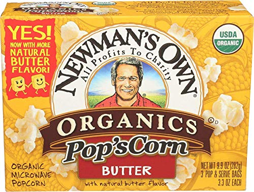 - Newman's Own Organics Microwave Popcorn, Butter, 9.9-oz. (Pack of 12)