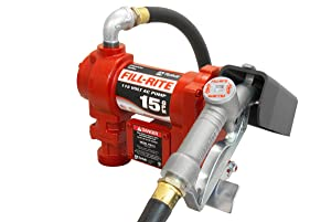 Fill-Rite FR610G 115V 15 GPM Fuel Transfer Pump w/Manual Nozzle, Discharge Hose, & Suction Pipe
