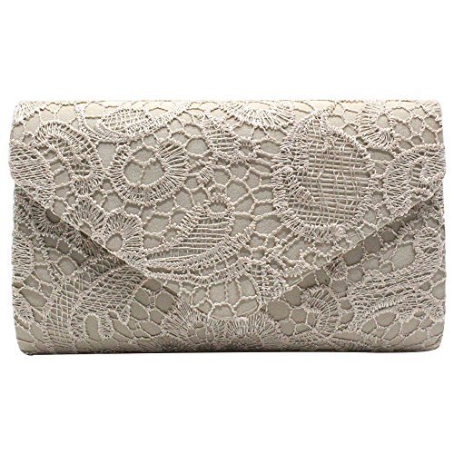 Wocharm Brand New Wonderful Lace Evening Clutch Bag Clutches BRIDAL WEDDING PARTY Handbag Shoulder Bags Fashion Prom Many Colors to Choose Champange 1#