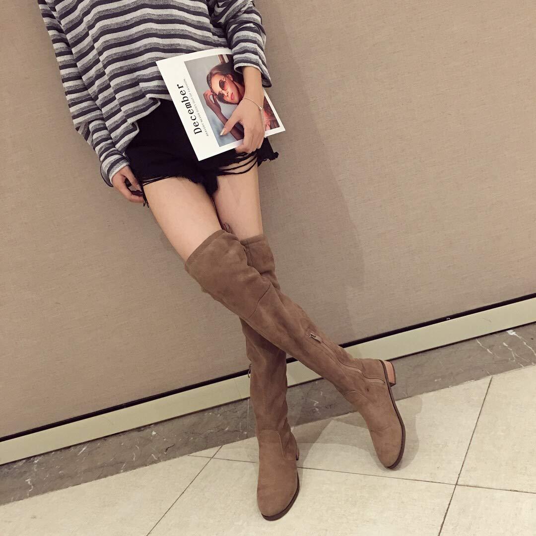Shukun Stiefeletten Herbst und Winter Stiefel Mode über die Knie Stiefel Frau war dünn Beine Stiefel hohe Stiefel Ritter Stiefel braun