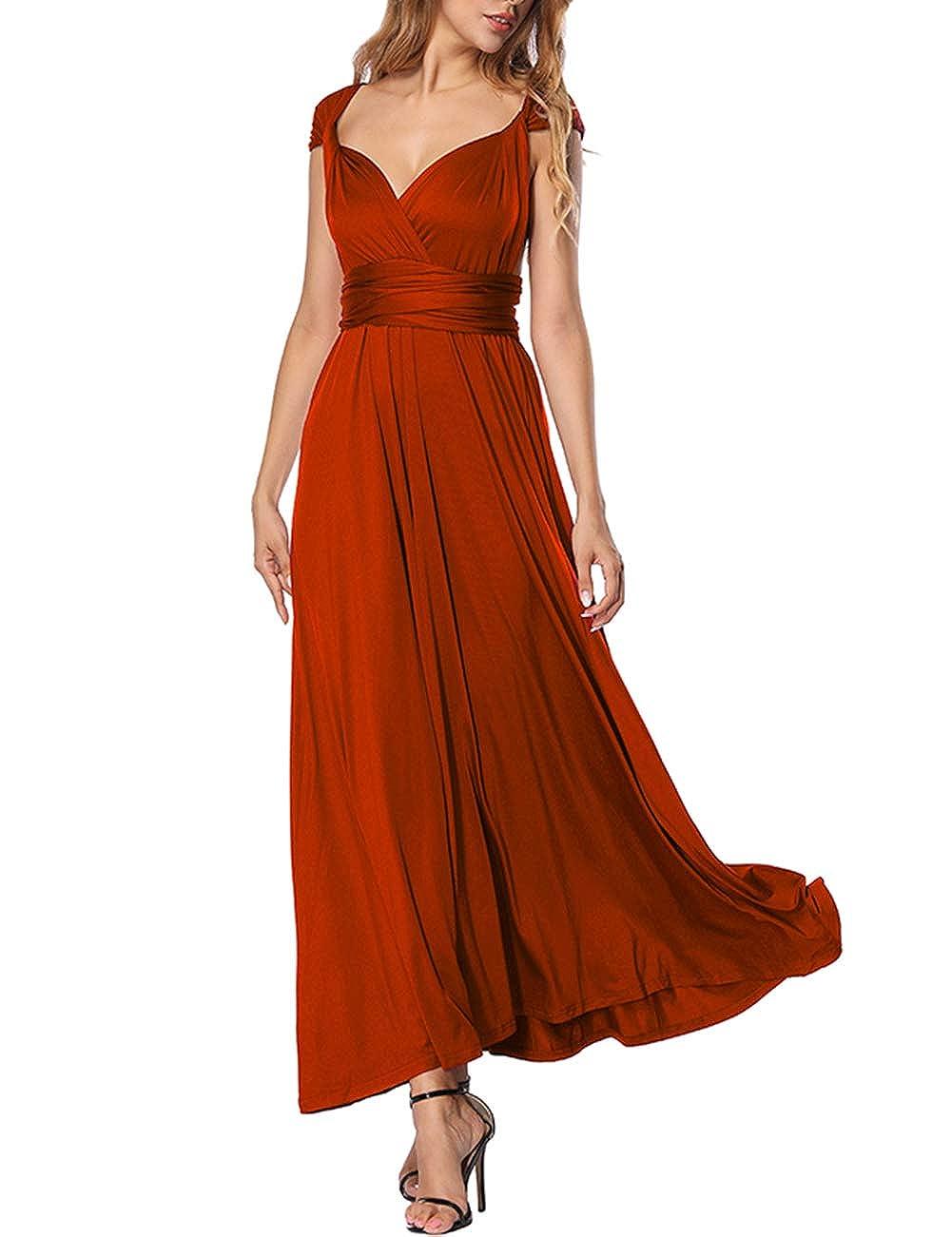 TALLA M(ES 40-44). FeelinGirl Mujer Vestido de Noche Longitud Máxima Falda Fiesta Cóctel Tirantes Convertibles Multi-Manera Rojo M(ES 40-44)