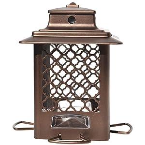 Stokes Select Bird Feeder, Metal Hopper Bird Feeder, 4 Feeding Ports, 3.6 lb Bird Seed Capacity, Copper Finish