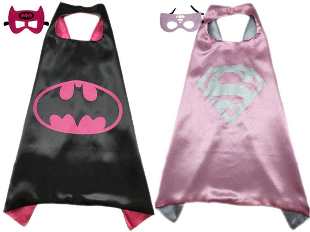 パックの2スーパーヒーロープリンセスケープ&マスクセット子供用子供のハロウィンコスチューム B06XQZ8M75 Batgirl & Supergirl Batgirl & Supergirl