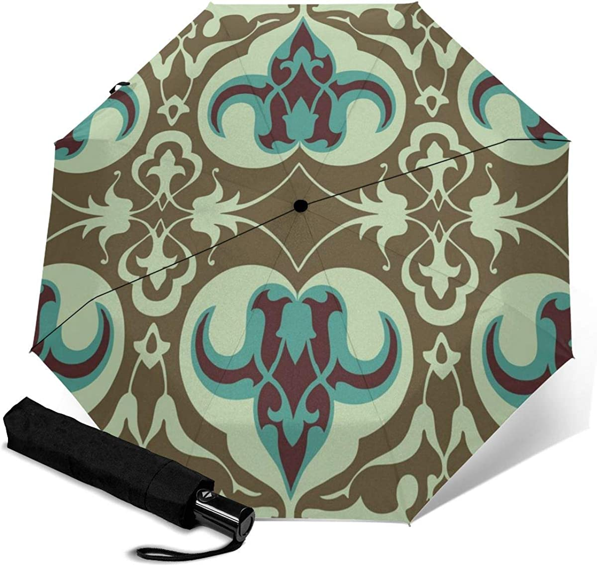 Vintage Floral Pattern Seamless Background Compact Travel Umbrella Windproof Reinforced Canopy 8 Ribs Umbrella Auto Open And Close Button Personalized
