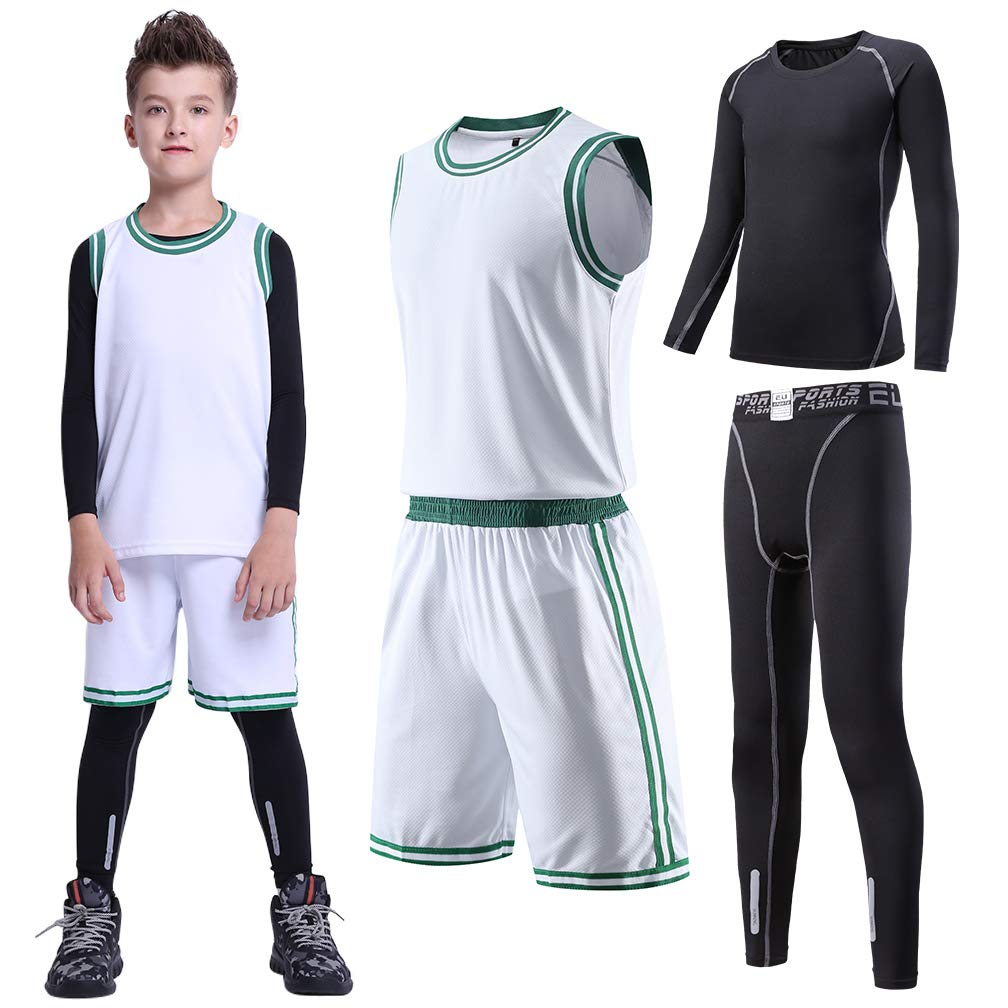 TERODACO Kids 4 pcs Sports Compression Tee & Leggings Athletic Jerseys Tank Set by TERODACO