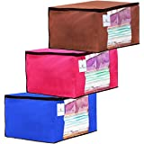 Kuber Industries 3 Piece Non Woven Fabric Transparent Window Saree Cover Set(Brown, Pink and Royal Blue)