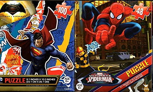 Kids Boys Hot SELLER Batman vs. Superman Wonder Woman and Spiderman Puzzles 48 100 Pieces Ages 6+ Bundle of 2 Puzzles for Boys Superheroes