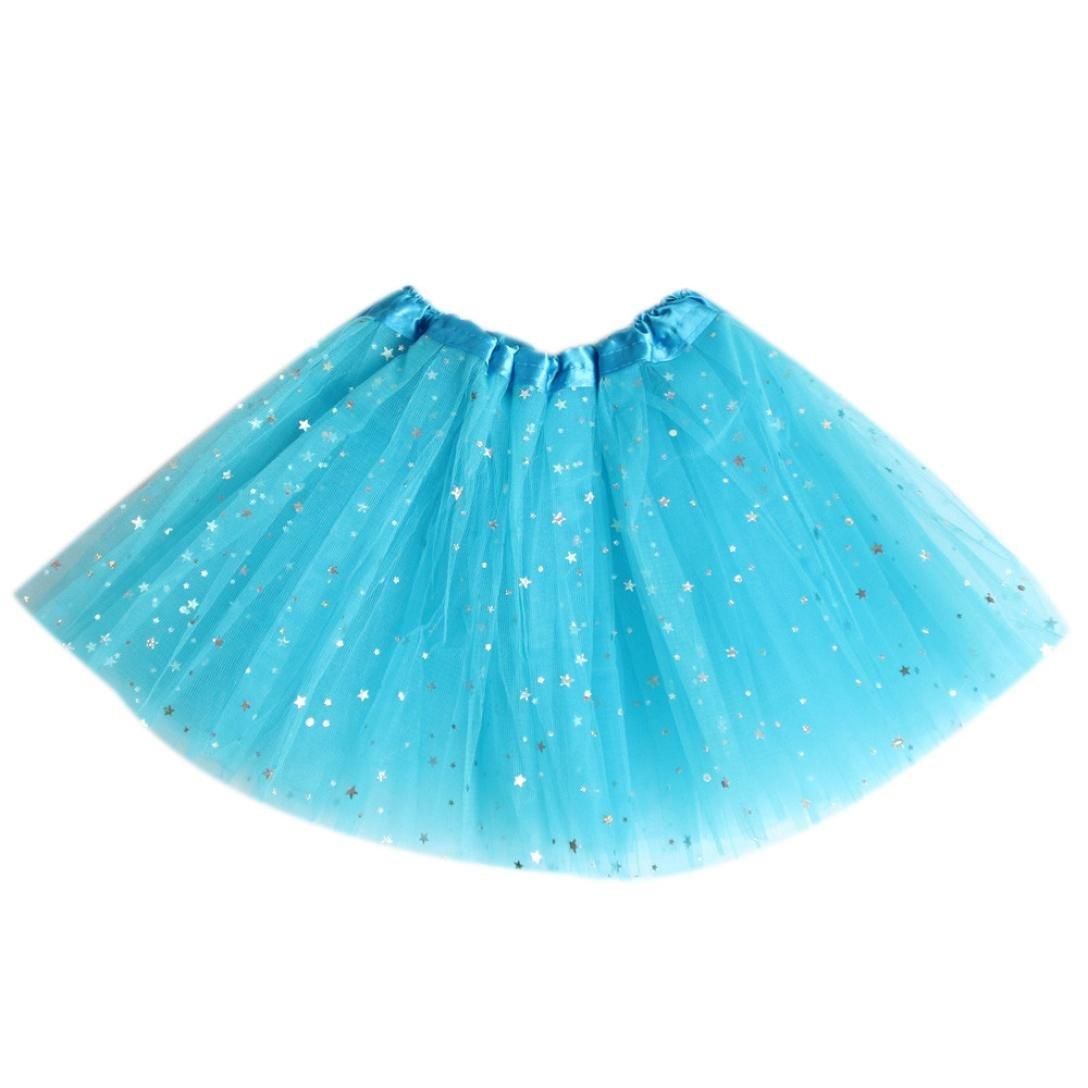 6 Color Girls Tutu Skirts Star Sequins Tulle Ballet Pettiskirt Princess Fancy Dresses Dark Blue)