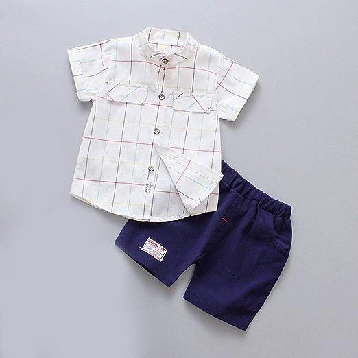 DGdolph Traje de niño Verano Algodón Lino Camisa de Manga Corta Ropa para niños Ropa de Verano Blanco 80Cm: Amazon.es: Hogar