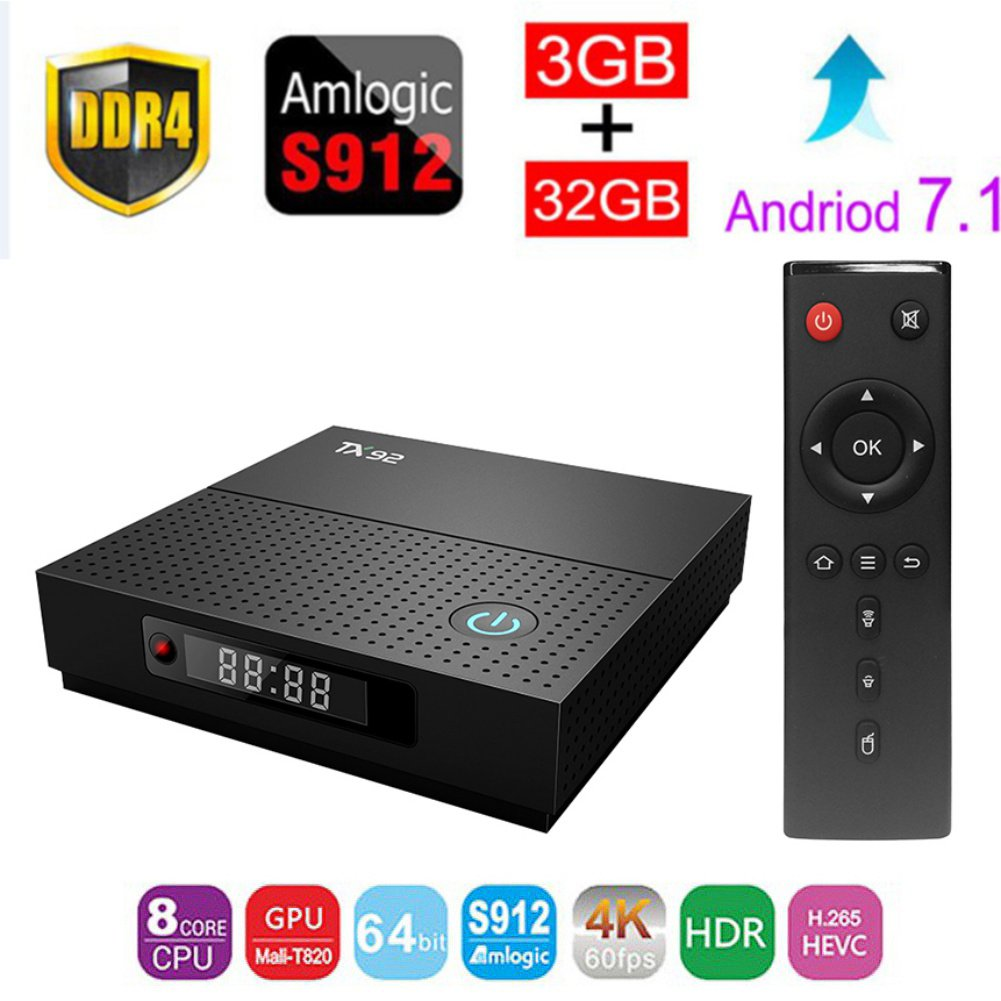 ESHOWEE TX92 Android 7.1 TV Box Amlogic S912 Octa-core CPU DDR3 3GB RAM 32GB ROM BT 4.0 2.4/5 Dual-Band WiFi 4K UHD and LAN VP9 DLNA H.265.