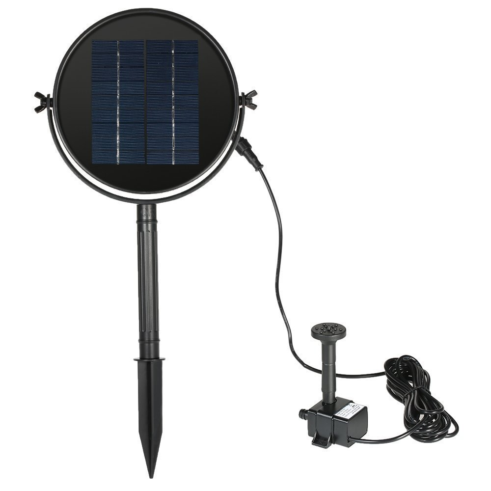 JPLSK Solar Fountain Pump, 2W Solar Water Pump Waterproof Solar Panel and Submersible Pump Kit with 4 Spay Heads for Bird Bath,Small Pond and Water Circulation,10ft Cord Included