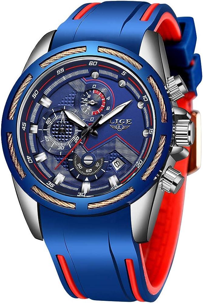 Lige Men's Watch Fashion Waterproof Silica Gel Chronograph Luxury Business Analog Quartz Watches Classic Black Belt Date Calendar Watch