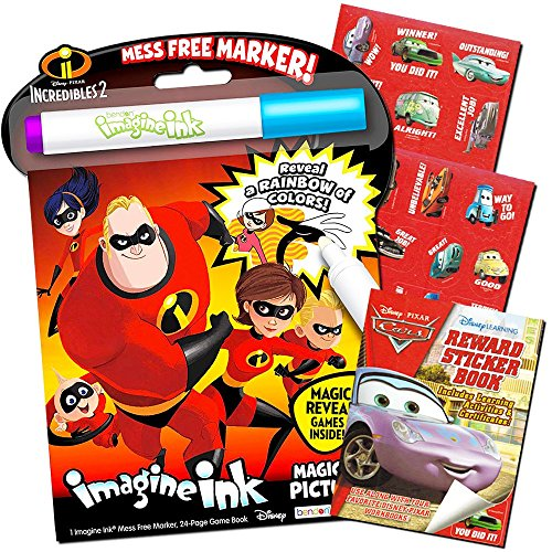 Incredibles Coloring and Activity Set -- The Incredibles Mess Free Coloring Book, Magic Pen and Disney Cars Sticker Activity Book (Incredibles Party - Magic Pen Disney