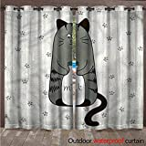 cobeDecor Cat Outdoor Ultraviolet Protective Curtains Shy Kitty with Bottle of Milk W72 x L108(183cm x 274cm)