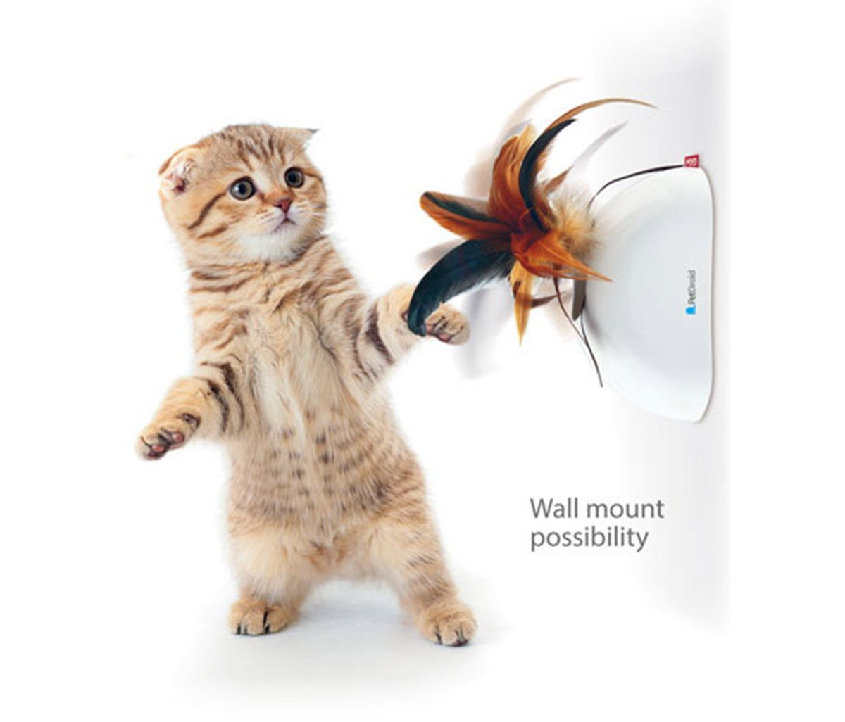 Gigwi Hanging Automatic Feather Cat Toy,Electronic Motion Activated Toy For Cat/Kitten,3 Extra Feathers Inside