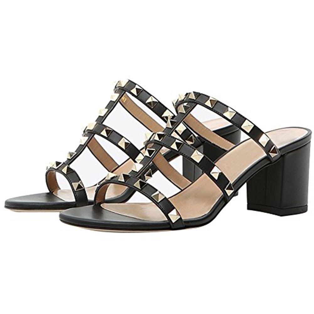 Chris-T Chunky Heels for Womens Studded Slipper Low Block Heel Sandals Open Toe Slide Studs Dress Pumps Sandals 5-14 US B07DH7CG1K 8.5 M US|Black/2 in