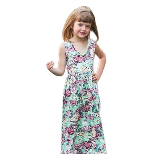 8f197716eaf47 Moonker Girls Dresses,Toddler Baby Girl Kid Summer Sleeveless O Neck Floral  Print Beach Princess