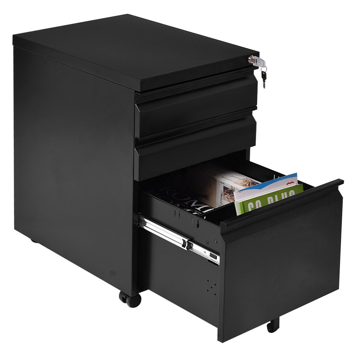 Giantex Rolling Mobile File W/3 Lockable Drawers and Pedestal for Office Study Room Home Steel Storage Cabinet by Giantex (Image #5)
