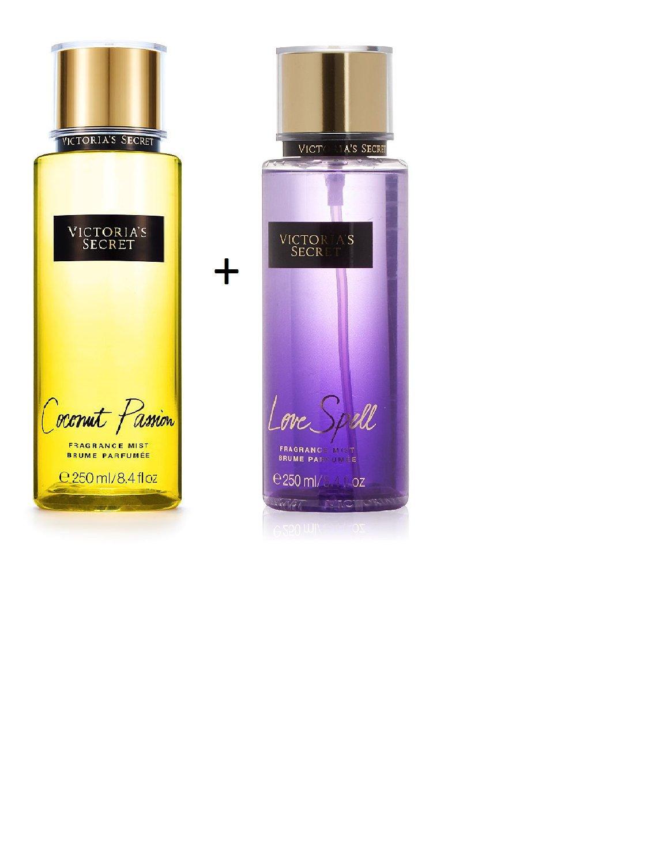 Set of 2 Victoria's Secret Coconut Passion & Love Spell Body Mist 250ml each 8.4 oz Victoria's Secret