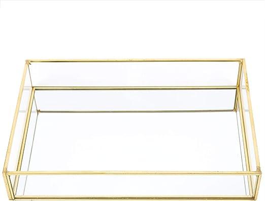 Fdit1 Caja de Almacenamiento de Vidrio de Metal Vintage Bandeja de Oro Joyas cosméticos Cajas de presentación((Talla pequeña)): Amazon.es: Hogar