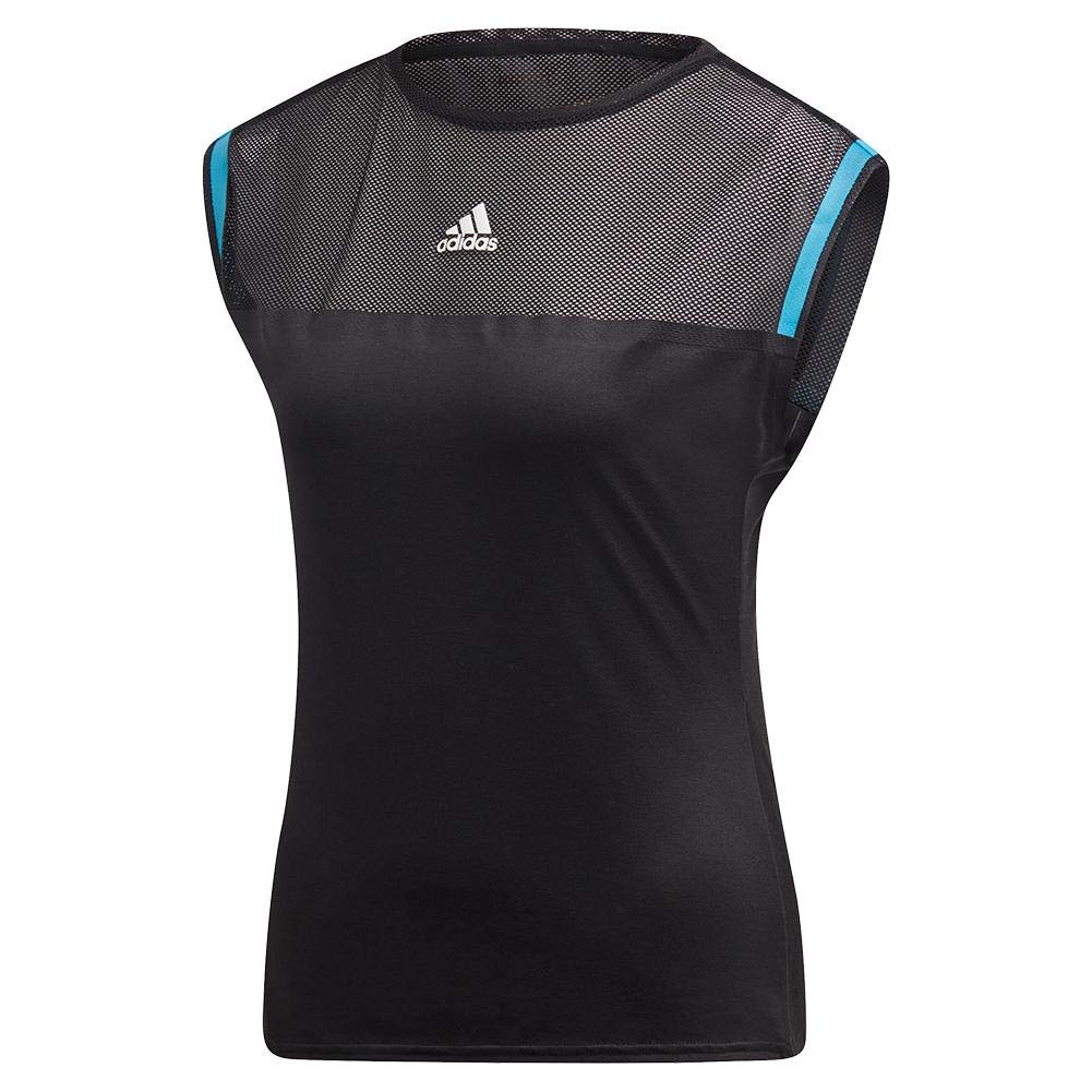 adidas Women's Escouade Tee (Large, Black/Shock Cyan)