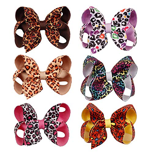 CN Leopard Print Hair Bow Animal Pattern Hair Clips Grosgrain Boutique For Baby Girl Princess Set of 6