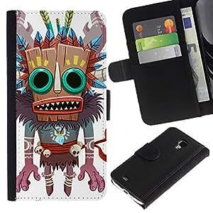 KingStore / Leather Etui en cuir / Samsung Galaxy S4 Mini i9190 / Monster Bruja Nativo Voodoo Doll cráneo