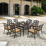 DOMI OUTDOOR LIVING Traditions Cast Aluminum 9-Piece Dining Set with Seat Cushions and 63-Inch Square Dining Table, Antique Bronze Finish For Sale