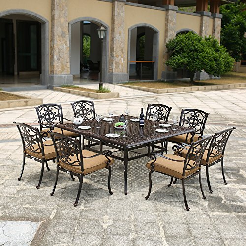 DOMI OUTDOOR LIVING Traditions Cast Aluminum 9-Piece Dining Set with Seat Cushions and 63-Inch Square Dining Table, Antique Bronze Finish