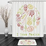 Vipsung Shower Curtain And Ground MatMexican Decorations Collection Mexican Symbols Guitar Taco Mask Music Instruments National I love Mexico Quotes Print RedShower Curtain Set with Bath Mats Rugs