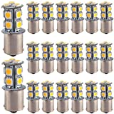 EverBright 20-Pack Warm White 1156 BA15S 1141 1073 1095 1003 7506 P21W 5050 13-SMD LED Replacement Bulb Turn Signal Tail Bulb Backup Parking Side Marker Light (DC-12V)