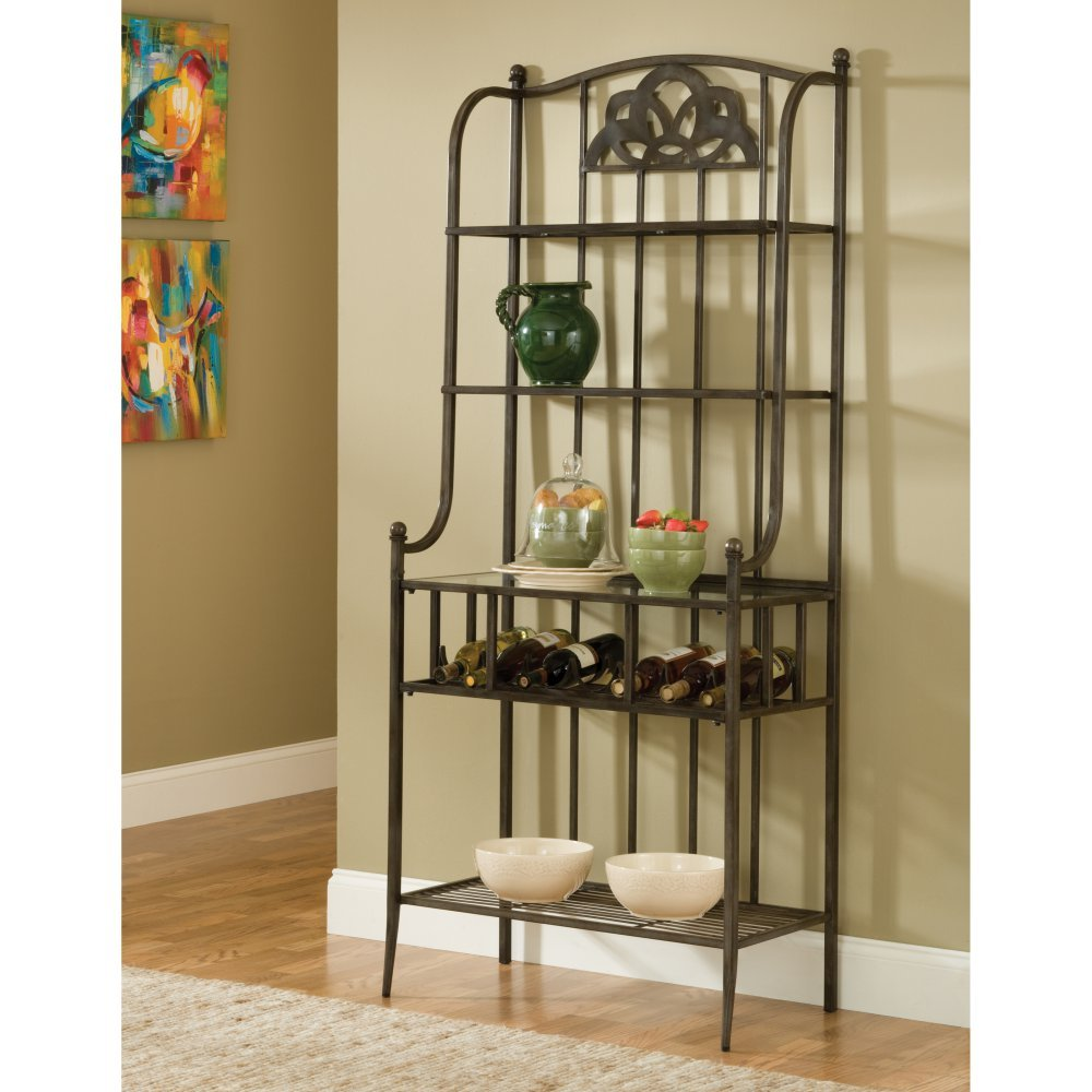 Hillsdale Furniture 5435-850 Marsala 70.5'' High Baker's Rack with 3 Shelves Small Center Design Bottle Rack and Metal Construction in Grey and Brown