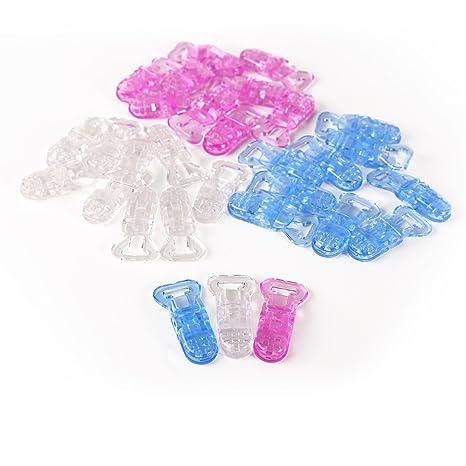 CLE DE TOUS@ 30pcs Pinza para chupetero de plástico (10pcs Color Blanco Transparente, 10pcs Azul Transparente, 10pcs Rosa Transparente)