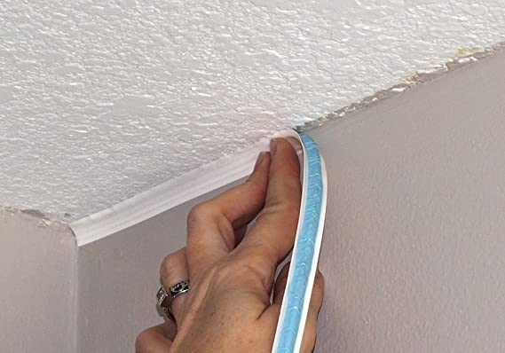 InstaTrim - Universal, Flexible, Adhesive Trim Solution - Cover Gaps  Between Walls, Floors, Ceilings, and More (White)