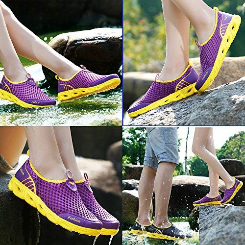 de de en de Zapatos Zapatillas Deporte Mesh Ocasionales Slip Ligeras Púrpura Agua Transpirables Mujer pzpEYRx