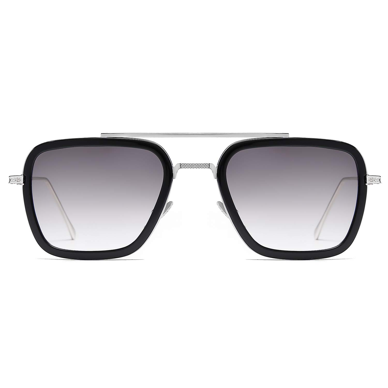 SOJOS Retro Aviator Square Sunglasses for Men Women Goggle Classic Alloy Frame Gradient Flat Lens Tony Stark Sunglasses SJ1126 with Silver Frame/Black Rim/Gradient Grey Lens by SOJOS