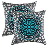 TreeWool Throw Pillowcase Oriental Window Accent Pure Cotton Decorative Cushion Cover (18 x 18 Inches / 45 x 45 cm; Turquoise) - Pack of 2