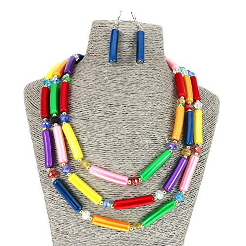 COMELYJEWEL Fashion Jewelry Multi Layer Mix Colour Chain Strand Beaded Statement Necklace for Women (Multi)