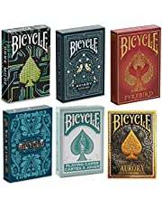 New Bicycle Playing Cards 6 Deck Collector's Bundle - Bicycle Dark Mode | Bicycle Aviary | Bicycle Fyrebird | Bicycle Sea King |Bicycle Aurora | Bicycle Fashion Teal