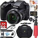 Nikon COOLPIX B500 16MP 40x Optical Zoom Digital Camera w/ Built-in Wi-Fi NFC & Bluetooth (Black) + 64GB SDXC Accessory Bundle