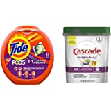 Tide Pods 3 in 1, Laundry Detergent Pacs, Spring Meadow Scent, 81 Count with Cascade Platinum Plus Dishwasher Pods…