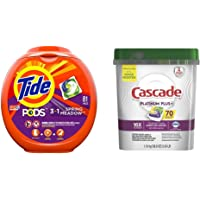 Tide Pods 3 in 1, Laundry Detergent Pacs, Spring Meadow Scent, 81 Count with Cascade Platinum Plus Dishwasher Pods, ActionPacs Detergent, Lemon, 70 Count