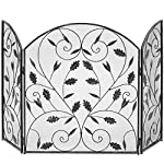 Best Choice Products 3-Panel Living Room Steel Metal Mesh Protective Fireplace Screen Decor w/Rustic Worn Finish, Scroll Leaf Decals - Black by Best Choice Products