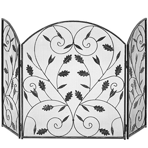 Place Decals (Best Choice Products Metal Mesh Fireplace Screen w/ Leaf Decals)